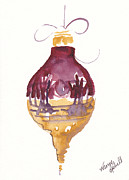 Christmas Notecard Originals - Victorian Watercolor Ornament by Michele Hollister - for Nancy Asbell