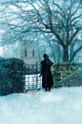 Period Clothing Prints - Victorian Woman at the Churchyard Gate Print by Jill Battaglia