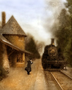 Historical Clothing Posters - Victorian Woman at Train Station Poster by Jill Battaglia