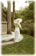 Long Dress Acrylic Prints - Victorian Woman in Garden with Parasol Acrylic Print by Jill Battaglia