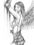 Wings Drawings - Victorias Angelic Warrior by Matthew Keith