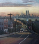 New York City Skyline Painting Framed Prints - Victory Boulevard at Dawn Framed Print by Sarah Yuster