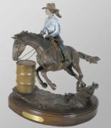 Cowgirl Sculpture Originals - Victory in Sight by Hugh Blanding