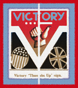 Red White And Blue Mixed Media - Victory Sign Diptych by Steve Ohlsen