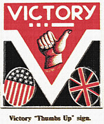 Triumph Mixed Media Posters - Victory Sign Poster by Steve Ohlsen