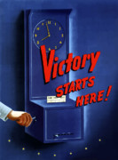 Military Production Posters - Victory Starts Here Poster by War Is Hell Store