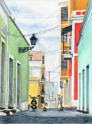 Street Painting Originals - Viejo San Juan by Tom Dorsz