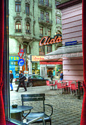 Cobbled Framed Prints - VIENNA View from Coffee Shop Window Framed Print by Juli Scalzi