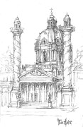 Columns Drawings Metal Prints - Vienna Metal Print by Yury Tarler