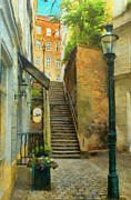 Staircase Digital Art - Viennese Side Street by Jeff Kolker