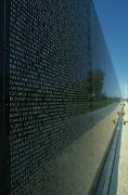 Memorials Prints - Vietnam Memorial With Washington Print by Kenneth Garrett