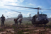Vietnam War Art - Vietnam War, Uh-1d Helicopters Airlift by Everett