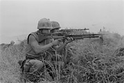 Vietnam War Art - Vietnam War. Us Marine Machine Gunner by Everett