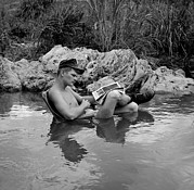 Cooling Off Prints - Vietnam War. Us Marine Rifleman Takes Print by Everett