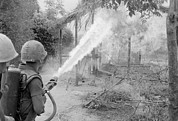 Candid Portraits Prints - Vietnam War. Us Marines Set Fire Print by Everett