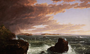 Rocks Prints - View across Frenchmans Bay from Mt. Desert Island after a squall Print by Thomas Cole