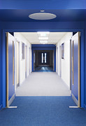 Building Feature Framed Prints - View Along A Corridor With Blue Framed Print by Iain  Sarjeant