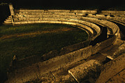 Recreational Structures Prints - View At Night Of The Ancient Roman Print by O. Louis Mazzatenta