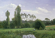Reflecting Trees Paintings - View at Rouelles by Claude Monet