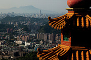 Place Of Worship Photos - View At Taipei City From Zhangshan Temple by Nikolay Titov