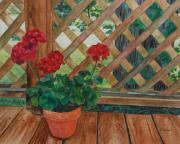 Red Garden Posters - View from a Deck Poster by Lynne Reichhart