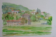 Italian Villas Paintings - View from a park in Perugia Italy by Janet Butler