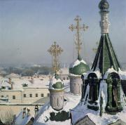 Eastern Europe Painting Framed Prints - View from a Window of the Moscow School of Painting Framed Print by Sergei Ivanovich Svetoslavsky