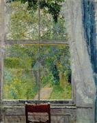 Curtains Framed Prints - View from a Window Framed Print by Spencer Frederick Gore