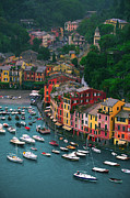 Portofino Italy Boats Framed Prints - View from Castello Brown Framed Print by John Galbo