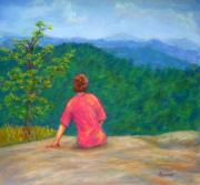 Smokey Mountains Pastels Framed Prints - View From Cedar Rock in DuPont Forest Framed Print by Sandy Hemmer