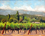 Grapevines Painting Originals - View from Chateau St. Jean by Char Wood