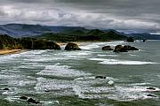 Sandy Beaches Framed Prints - View from Ecola Framed Print by David Patterson