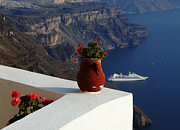 Ios Framed Prints - View From Fira Greece Framed Print by Bob Christopher