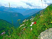 Montana Digital Art - View from Highline Trail in Glacier NP by Ruth Hager