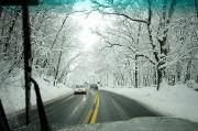 Winter Roads Photo Prints - View From Inside A Car, Driving Print by Tim Laman