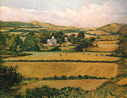 Country Scenes Painting Prints - View from Knowle Hill in Church Knowle Purbeck Ridgeway  Dorset England  Print by Ethel Vrana