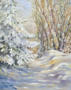 Snowfall Paintings - View From Matthews Window by Kathy Harker-Fiander
