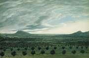 Hills Paintings - View from Mirabella by John Robert Cozens