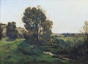 Village Paintings - View from Moncel-sur-Seine by Henri-Joseph Harpignies