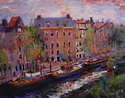 Netherlands Paintings - View from Nikks window in Amsterdam by R W Goetting