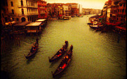 Sepia Digital Art Originals - View from Rialto Bridge by John Galbo