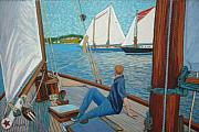 Schooner Pastels Framed Prints - View from Schooner Avenger Framed Print by Rae  Smith PSC