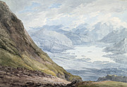 Mountainous Paintings - View from Skiddaw over Derwentwater  by Thomas Hearne