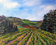 Grapevines Posters - View from Soquel Vineyards Poster by Annette Dion McGowan