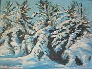 Snow Scene Paintings - View from Studio by Perrys Fine Art