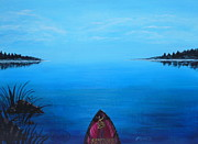 Canoe Painting Posters - View From The Beach Poster by Monika Dickson