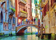 Gondola Digital Art Prints - View from the Canal Print by Jeff Kolker