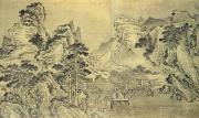 Chinese Ink Prints - View from the Keyin Pavilion on Paradise - Baojie Mountain Print by Wang Wen