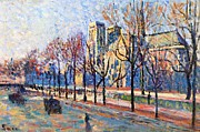 Bare Trees Painting Posters - View from the Quay Montebello Poster by Maximilien Luce