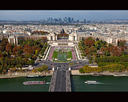 Road Travel Photo Posters - View From The Second  Floor Of Eiffel Tower Poster by Anna A. Krømcke